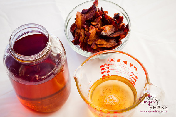 1 bottle bourbon, ½ cup bacon fat. Bacon treats on the side. © 2013 Sugar + Shake
