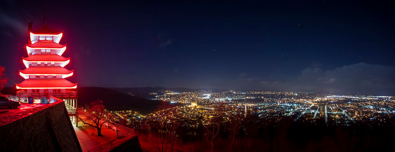 Panoramic night view at the Reading Pagoda.