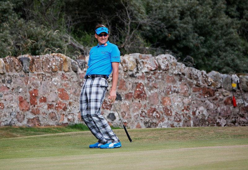 . Ian Poulter of England reacts to a missed birdie putt on the 2nd hole during the first round of the 142nd Open Championship at Muirfield on July 18, 2013 in Gullane, Scotland.  (Photo by Rob Carr/Getty Images)
