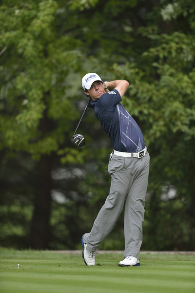 Rory McIlroy follows through on a tee shot during the second round of play on Friday, September 7, 2012 at the BMW Championship at Crooked Stick Golf Club in Carmel, IN (Rick Sanchez/WGA).
