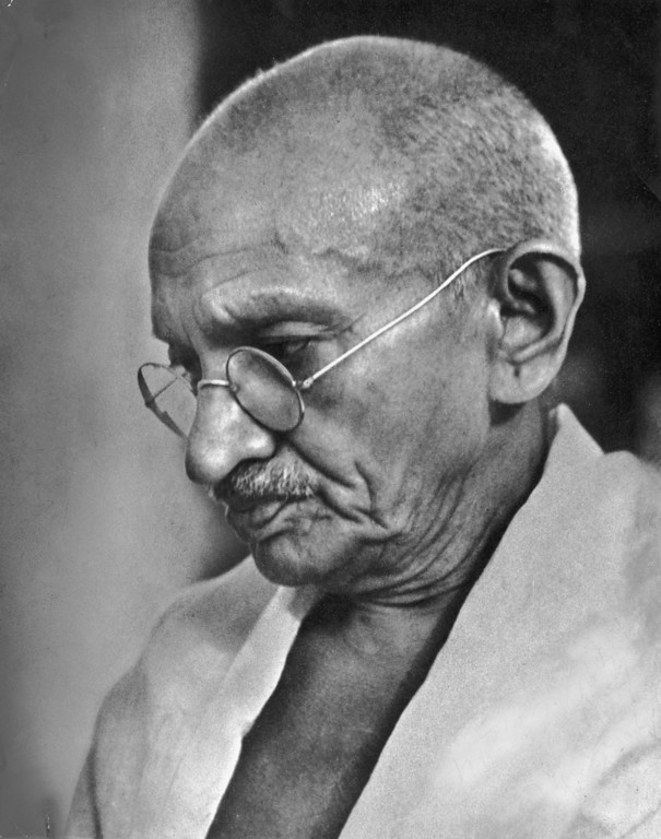 . Indian spiritual and political leader Mahatma Gandhi (1869 - 1948) in India, circa 1940.  (Photo by Hulton Archive/Getty Images)