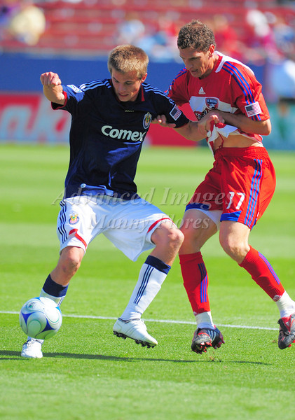 29, March 2009:  Chivas USA middle Jesse Marsch (Cap) #15 & FC Dallas defender Aaron Pitchkolan #17 in action during the soccer game between FC Dallas & Chivas USA at the Pizza Hut Stadium in Frisco,TX. Chivas USA  beat FC Dallas 2-0.Manny Flores/Icon SMI