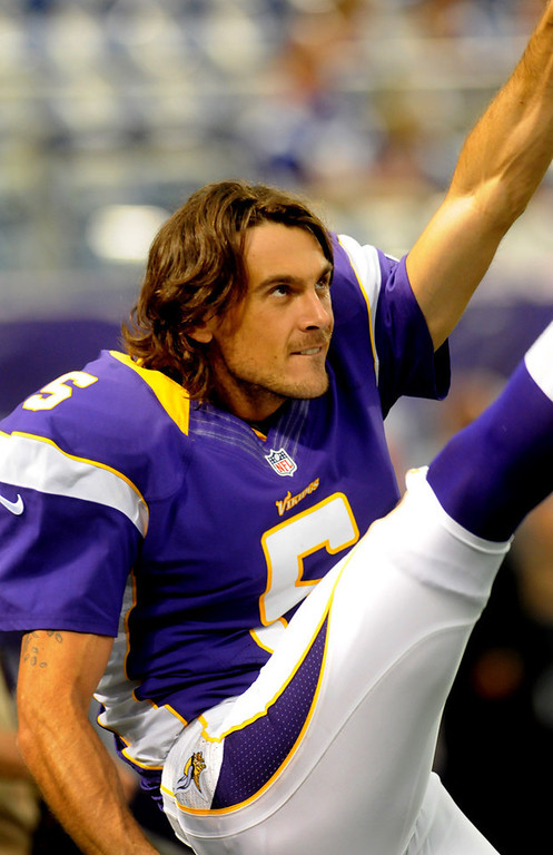 . Vikings punter Chris Kluwe stretches out before a home game against the San Diego on Aug. 24, 2012. (Pioneer Press: Jean Pieri)