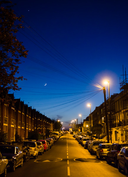 Terraced streets in South London at night