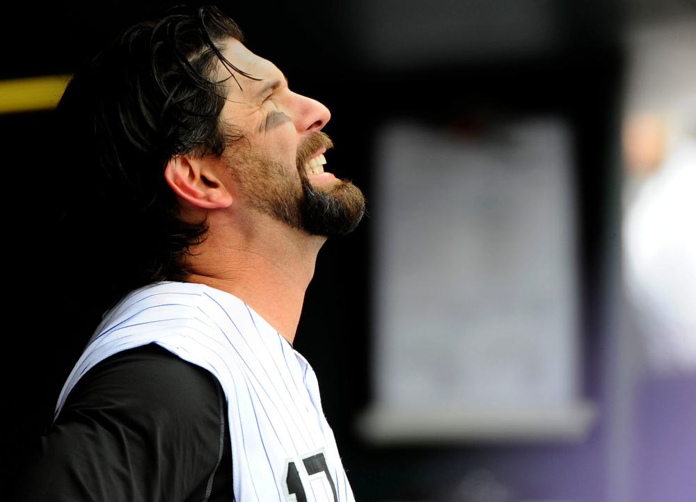 . Colorado Rockies Todd Helton reacts after grounding out against the San Francisco Giants Sunday, July 26, 2009 at Coors Field. John Leyba, The Denver Post