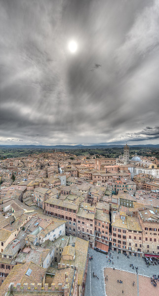 Low Sun in a Cloudy Sky - Siena, Italy - April 5, 2015