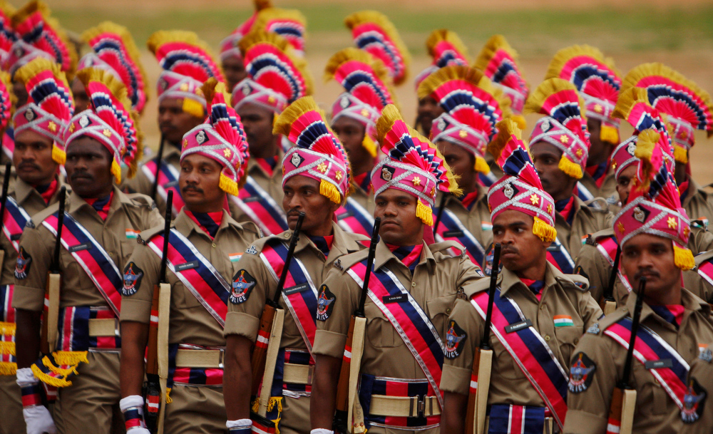 . Andhra Pradesh state police march during India\'s Independence Day celebrations in Hyderabad, India, Thursday, Aug. 15, 2013. (AP Photo/Mahesh Kumar A.)