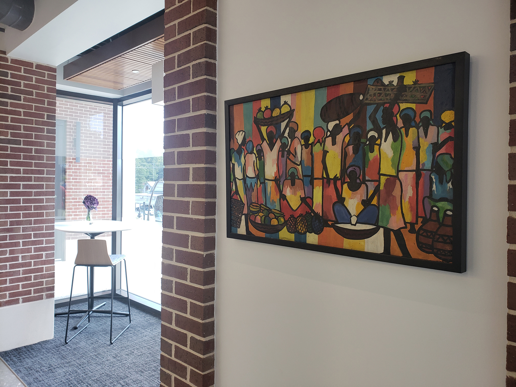 Art from the Congo, donated by Jim and Karen Fleece, serves to decorate and be studied at the Integrated Science Complex.