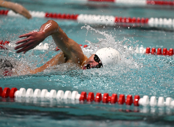 1/7/2020 Mike Orazzi | StaffrBristol swimmer Mikel Palaj in the 200 freestyle against Hall High School in Bristol.