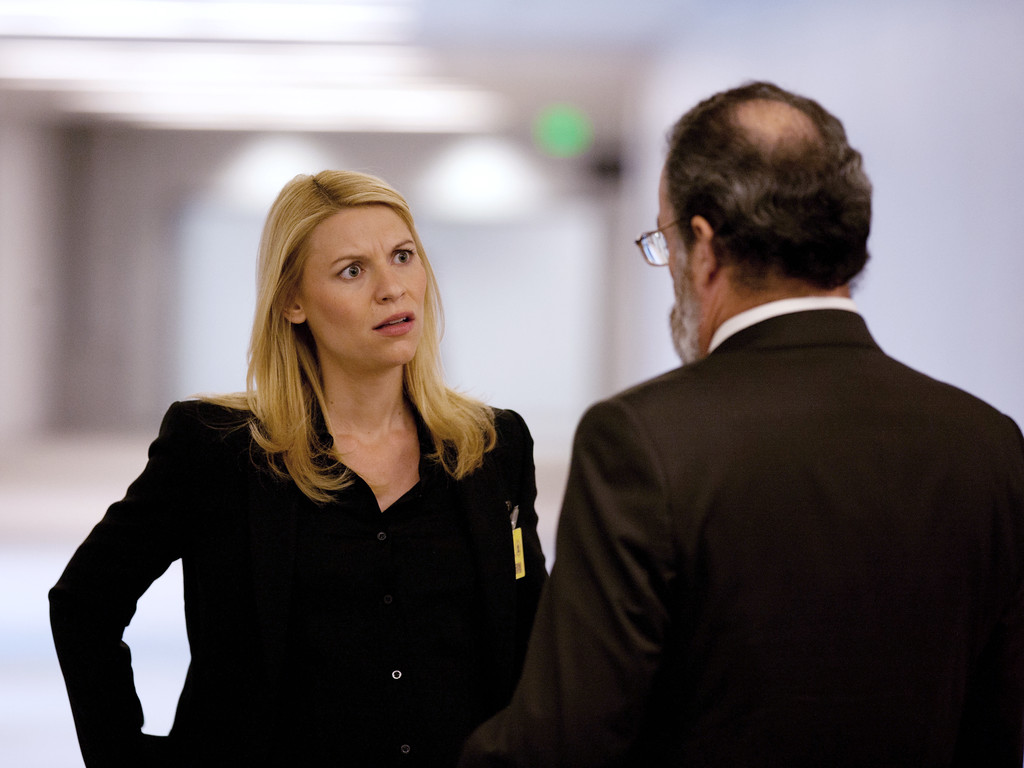 """. This publicity image released by Showtime shows Claire Danes in \""""Homeland.\""""  Danes was nominated for an Emmy Award for best actress in a drama series on, Thursday July 10, 2014. The 66th Primetime Emmy Awards will be presented Aug. 25 at the Nokia Theatre in Los Angeles. (AP Photo/Showtime, Kent Smith)"""