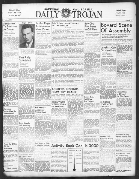Daily Trojan, Vol. 29, No. 5, September 23, 1937