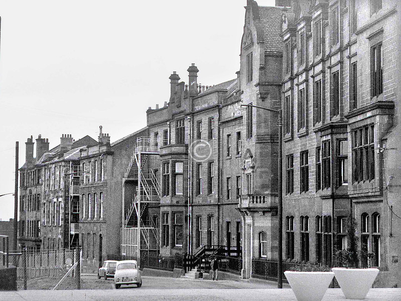 The eastern part of the Rottenrow.  This was as far as the eastward expansion of Strathclyde Uni had progressed, though some of these old buildings were being used as student accommodation. All have now been replaced by modern student apartments.  March 1973