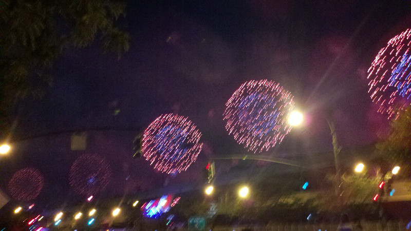 Macy's fireworks show on the Hudson River