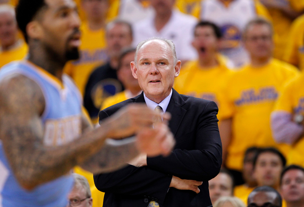 . Denver Nuggets head coach George Karl directs his team against the Golden State Warriors during Game 6 of their NBA Western Conference quarter-final playoff basketball game in Oakland, California May 2, 2013. REUTERS/Robert Galbraith