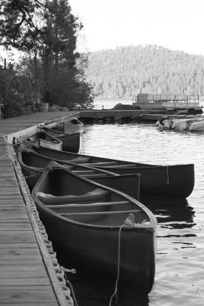 Canoes on Fallen Leaf Lake.