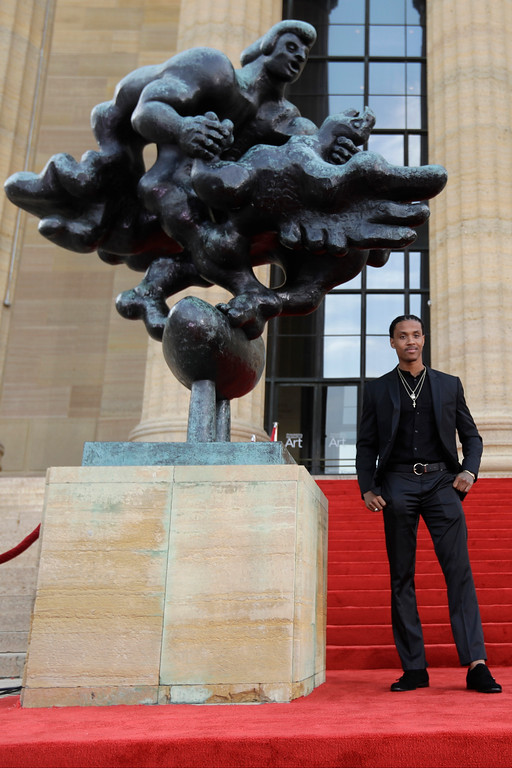 . Washington\'s Kevin King arrives for the first round of the 2017 NFL football draft, Thursday, April 27, 2017, in Philadelphia. (AP Photo/Julio Cortez)