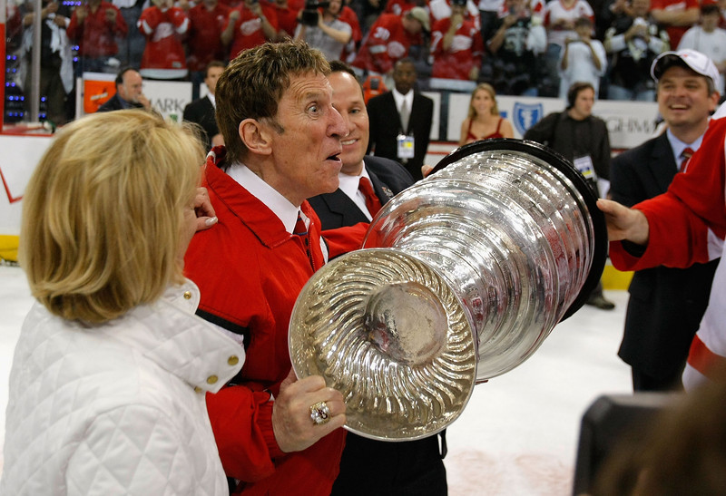 . PITTSBURGH - JUNE 04:  Owner Mike Ilitch of the Detroit Red Wings celebrates with the Stanley Cup after defeating the Pittsburgh Penguins in game six of the 2008 NHL Stanley Cup Finals at Mellon Arena on June 4, 2008 in Pittsburgh. Pennsylvania. The Red Wings defeated the Penguins 3-2 to win the Stanley Cup Finals 4 games to 2.  (Photo by Dave Sandford/Getty Images)