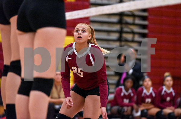 10/18/17 Wesley Bunnell | Staff Berlin girls volleyball vs New Britain on Wednesday evening at New Britain High School. New Britain's Nataly Hernandez (25).