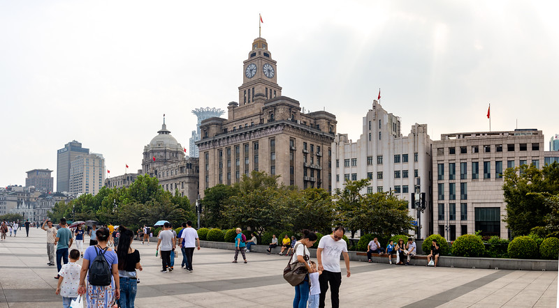 Some of the Art Deco buildings on the Bund. Panorama.