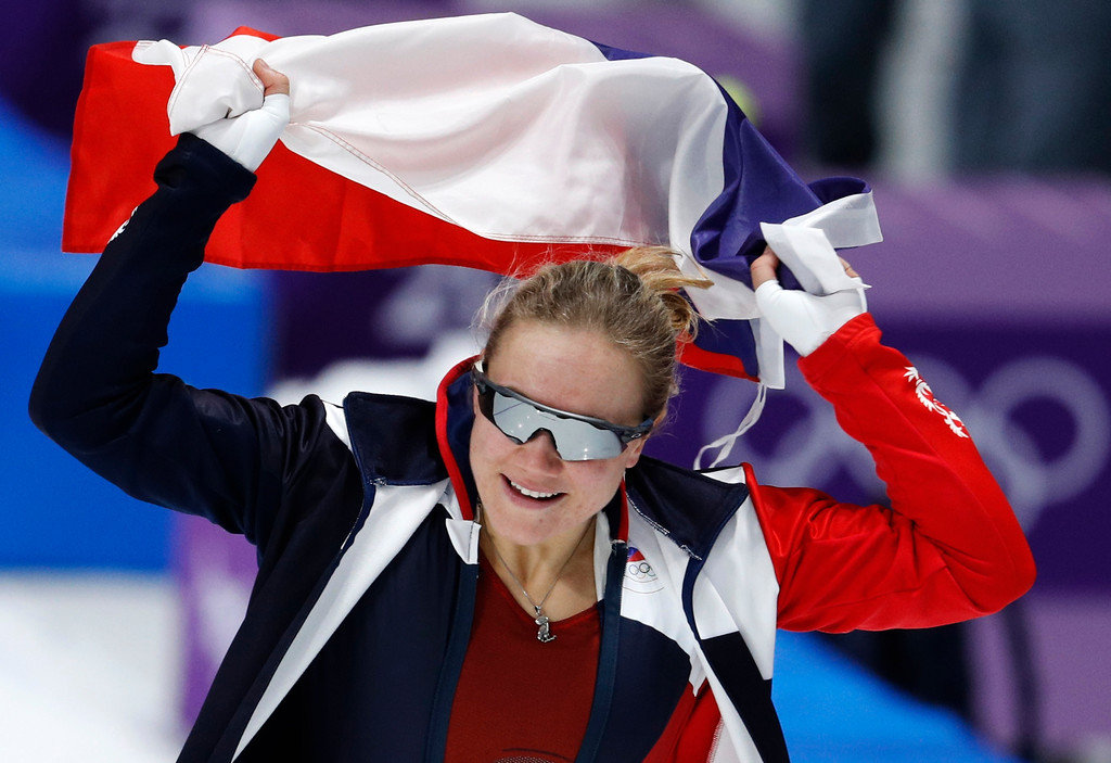 . Bronze medalist Karolina Erbanova of the Czech Republic celebrates after the women\'s 500 meters speedskating race at the Gangneung Oval at the 2018 Winter Olympics in Gangneung, South Korea, Sunday, Feb. 18, 2018. (AP Photo/John Locher)