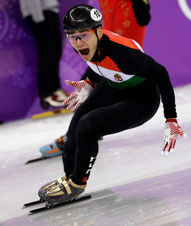 . Liu Shaolin Sandor of Hungary celebrates as his team win the men\'s 5000 meters short track speedskating relay final in the Gangneung Ice Arena at the 2018 Winter Olympics in Gangneung, South Korea, Thursday, Feb. 22, 2018. (AP Photo/Bernat Armangue)