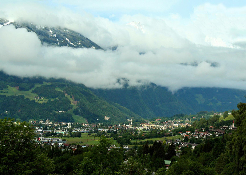 Ski resort of Lienz, Austria. You can see some of the slopes of the huge Lienz Ski resort at the left of the image, which has an impressive vertical drop of about 4500 feet.