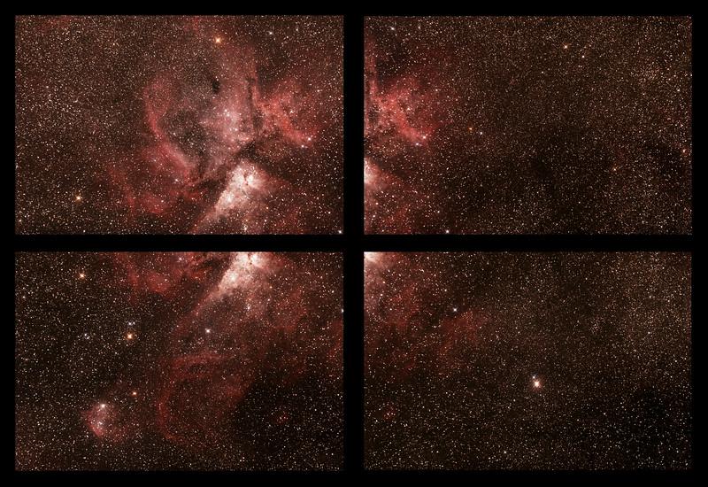 Caldwell 92 Eta Carinae Neblua with  NGC3324/IC2599 Gum 31 Galactic Nebula - 25/2/2017 (Unmerged 4 panel Mosaic)