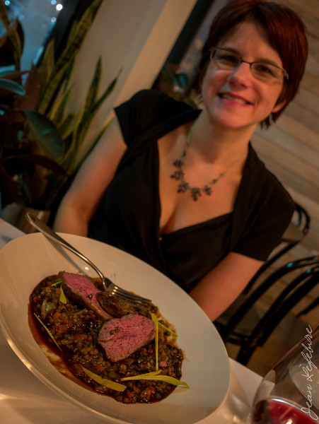 Medium Rare Lamb Sirloin with lentil cassoulet