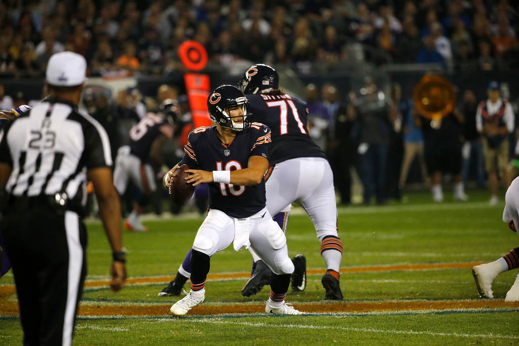 . Chicago Bears quarterback Mitchell Trubisky (10) throws during the first half of an NFL football game against the Minnesota Vikings, Monday, Oct. 9, 2017, in Chicago. (AP Photo/Charles Rex Arbogast)