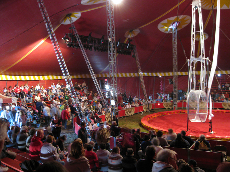 Inside the Hollywood Circus tent. (Blurry.)