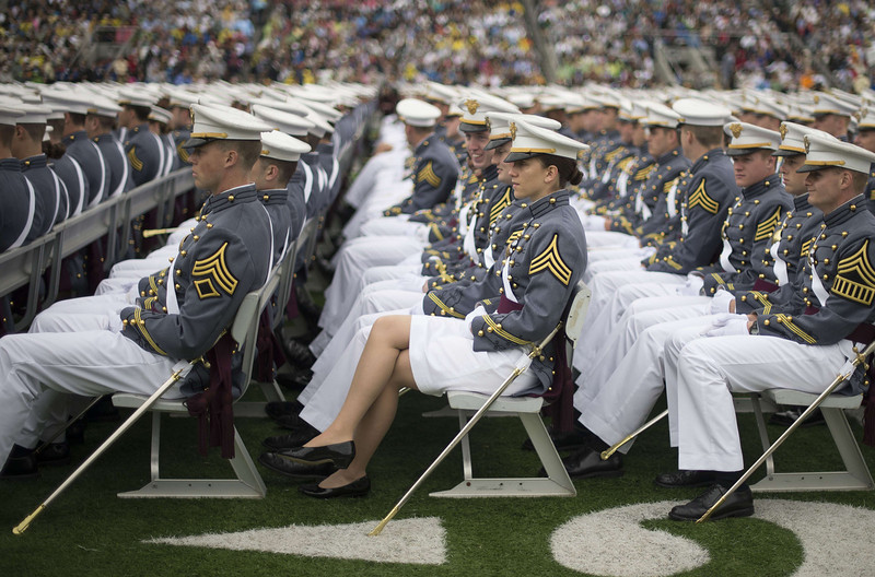 . Members of the 2014 graduating class at the United States Military Academy listen to US President Barack Obama\'s commencement address at West Point, New York, May 28, 2014. (JIM WATSON/AFP/Getty Images)