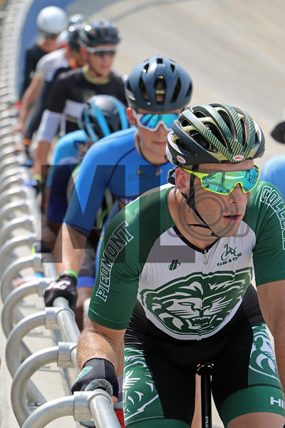 Alex McLaughlin of Piedmont College prepares to race at the USA Cycling Collegiate Track National Championships at Giordana Velodrome in Rock Hill, S.C., on Friday, Sept. 13, 2019.