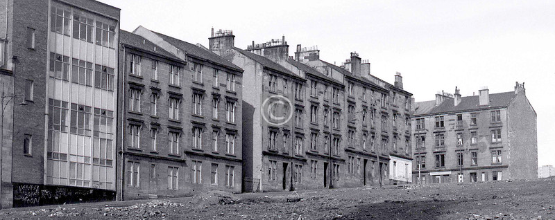 Glenfield St, from where Warnock St had been.    This little enclave, a square (or parallelogram) formed by Alexandra Parade (N), James Orr St (E), Warnock St (S), and Glenfield St (W), was in process of being obliterated. The extension to the Royal Infirmary now occupies the site.     March 1973