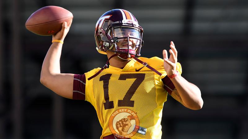 Virginia Tech Hokies quarterback Josh Jackson (17) throws during practice. (Michael Shroyer/ TheKeyPlay.com)