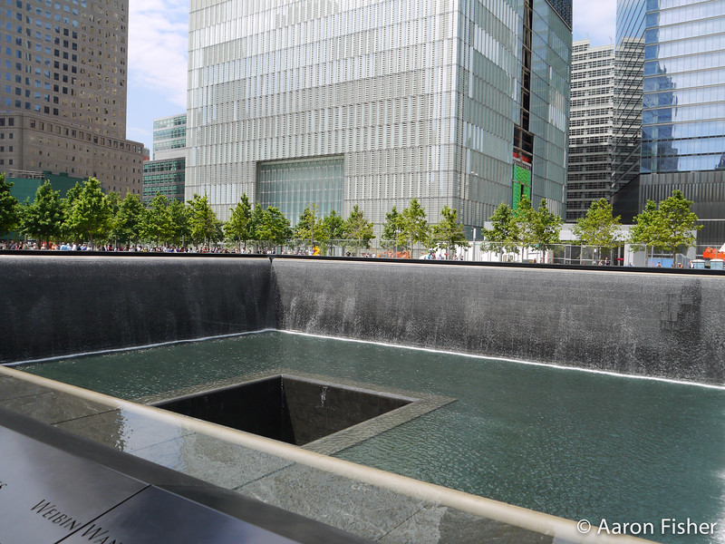 North Tower pool with the new WTC 1
