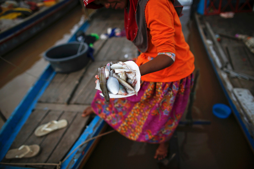 . An ethnic Cham Muslim woman carries a plate with fish prepared for iftar (breaking fast) on the banks of Mekong river in Phnom Penh July 27, 2013. About 100 ethnic Cham families, made up of nomads and fishermen without houses or land who arrived at the Cambodian capital in search of better lives, live on their small boats on a peninsula where the Mekong and Tonle Sap rivers meet, just opposite the city\'s centre. The community has been forced to move several times from their locations in Phnom Penh as the land becomes more valuable. They fear that their current home, just behind a new luxurious hotel under construction at the Chroy Changva district is only temporary and that they would have to move again soon. Picture taken July 27, 2013.  REUTERS/Damir Sagolj