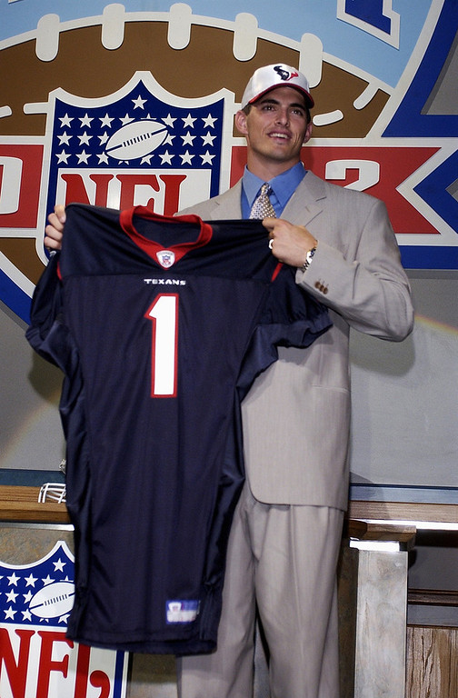 . David Carr, Fresno State Selected first overall by the Texans in 2002 Carr was the inaugural pick of the Houston Texans franchise in 2002. He proceeded to spend much of the next five seasons on his rear end; Carr was sacked 249 times from 2002-2006, including a league-high 76 in 2002, 49 in 2004 and 68 in 2005. Since leaving Houston after the 2006 season, Carr has served as a backup for the Panthers, Giants and 49ers. GRADE: D. Who knows what could have been if he wasn�t beat up so bad his first couple of seasons.(AP Photo/Ed Betz)