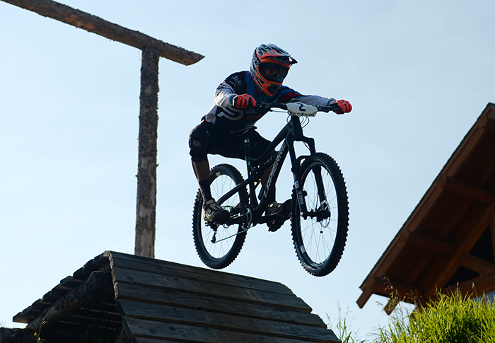 . WINTER PARK, CO. - July 26: Nicolas Vouiloz catches air after starting the first stage of First international Enduro World Cup Championship ever in U.S. at Winter Park, Colorado. July 26, 2013.  (Photo By Hyoung Chang/The Denver Post)