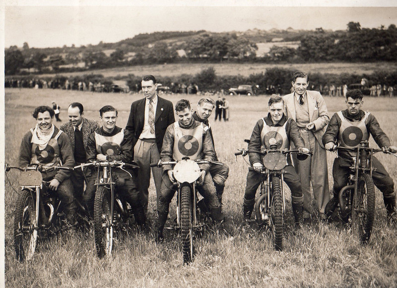 Bingley Cree on far left, Tom Mitchell (Steven Hayden Grandfather) in Black blazer, Charlie Hayden standing in suite (Photo courtesy of Steve Hayden Bournemouth England) Steve is the grandson of Charlie Hayden, one of Dad's old racing pals).  If you know who the other rider's names are please let me know....