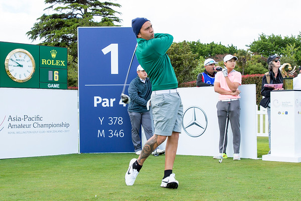 Kristopher Williamson from the Cook Islands  hitting off the 1st tee on Day 1 of competition in the Asia-Pacific Amateur Championship tournament 2017 held at Royal Wellington Golf Club, in Heretaunga, Upper Hutt, New Zealand from 26 - 29 October 2017. Copyright John Mathews 2017.   www.megasportmedia.co.nz
