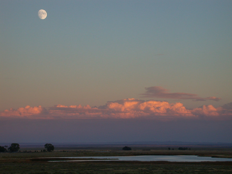 Moonrise at sunset. Laramie Valley, Wyoming.