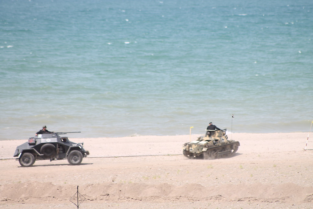 . Military vehicles from World War II line the beach at D-Day Conneaut 2018. Kristi Garabrandt - The News-Herald