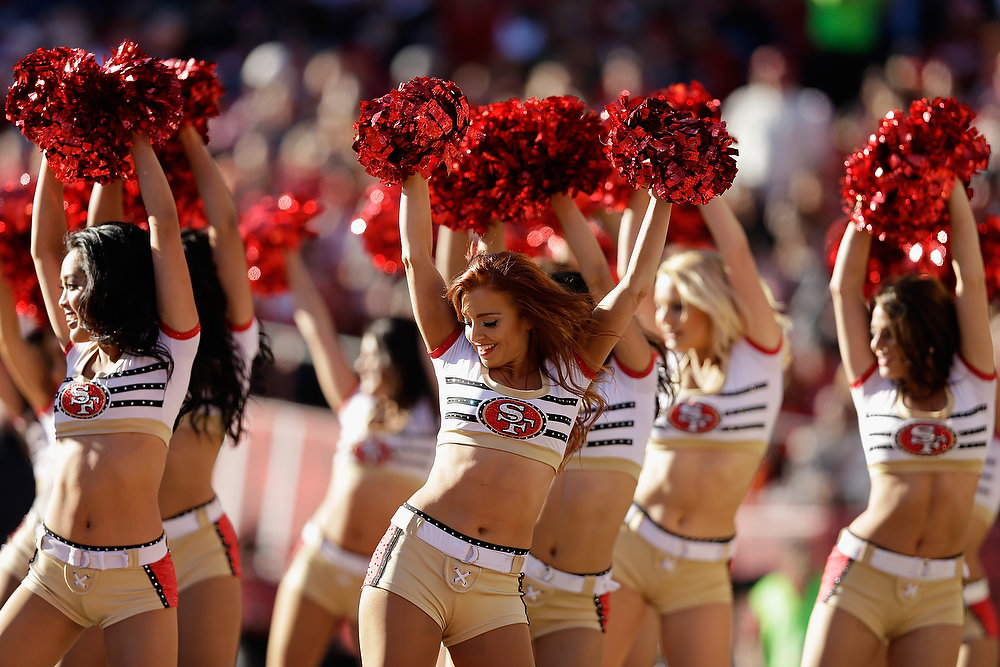 Description of . SAN FRANCISCO, CA - DECEMBER 30: The Gold Rush, the San Francisco 49ers cheerleaders, perform during their game against the Arizona Cardinals at Candlestick Park on December 30, 2012 in San Francisco, California.  (Photo by Ezra Shaw/Getty Images)