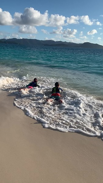 The kids find the surf and loved it.