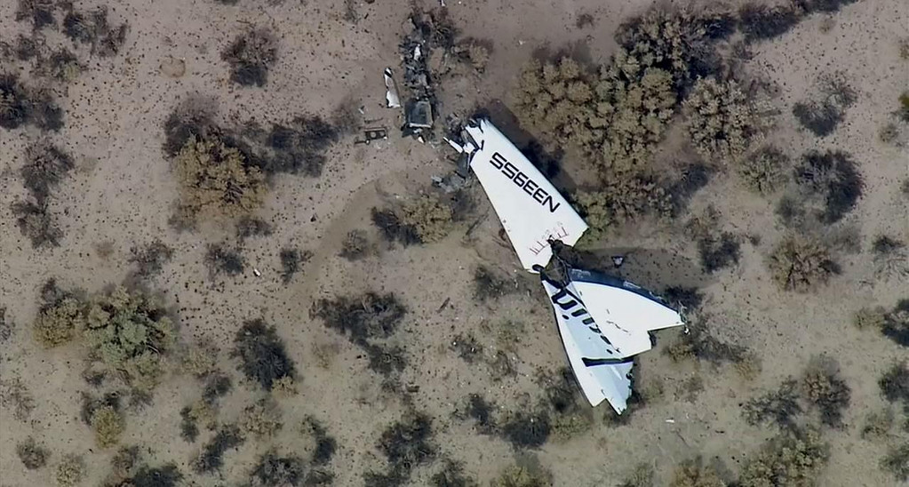 . This image from video by KABC-TV Los Angeles shows wreckage of SpaceShipTwo in Southern California\'s Mojave Desert on Friday, Oct. 31, 2014. A Virgin Galactic space tourism rocket exploded after taking off on a test flight, a witness said Friday. (AP Photo/KABC-TV)