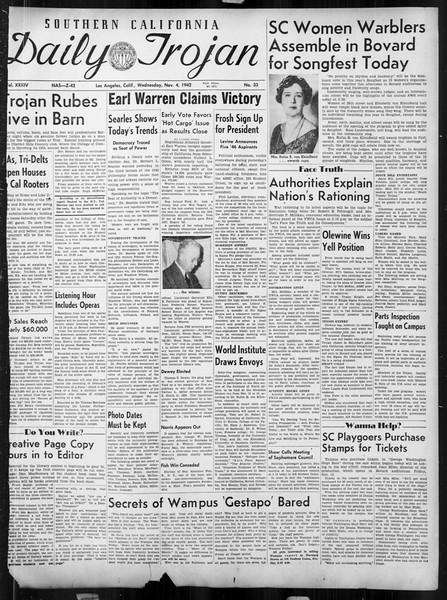 Daily Trojan, Vol. 34, No. 33, November 04, 1942