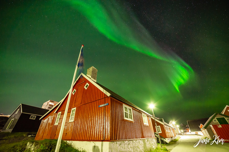 Northern Lights over Hans Egedesvej street