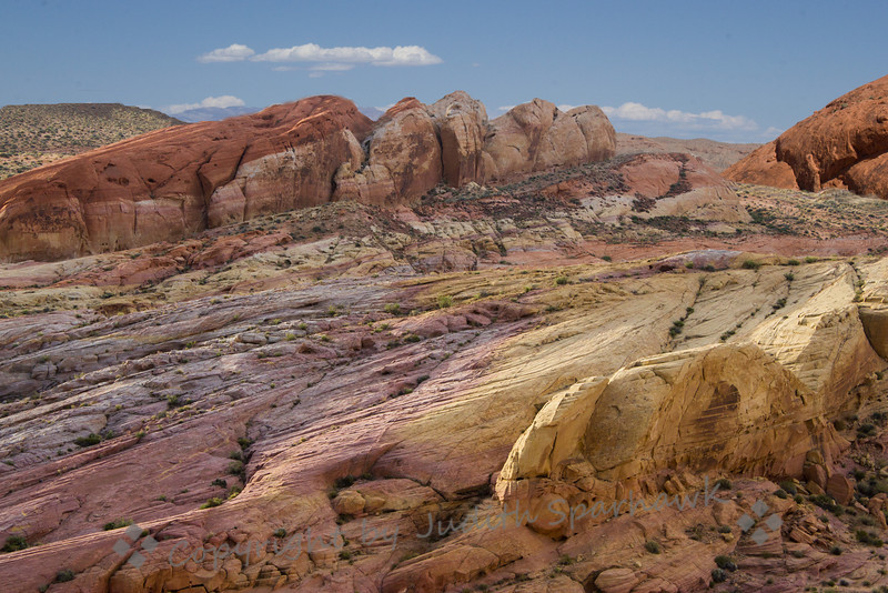 Rainbow Vista ~ This view of colorful rock formations was near the area called Rainbow Vista.  This is in the Valley of Fire in Nevada.