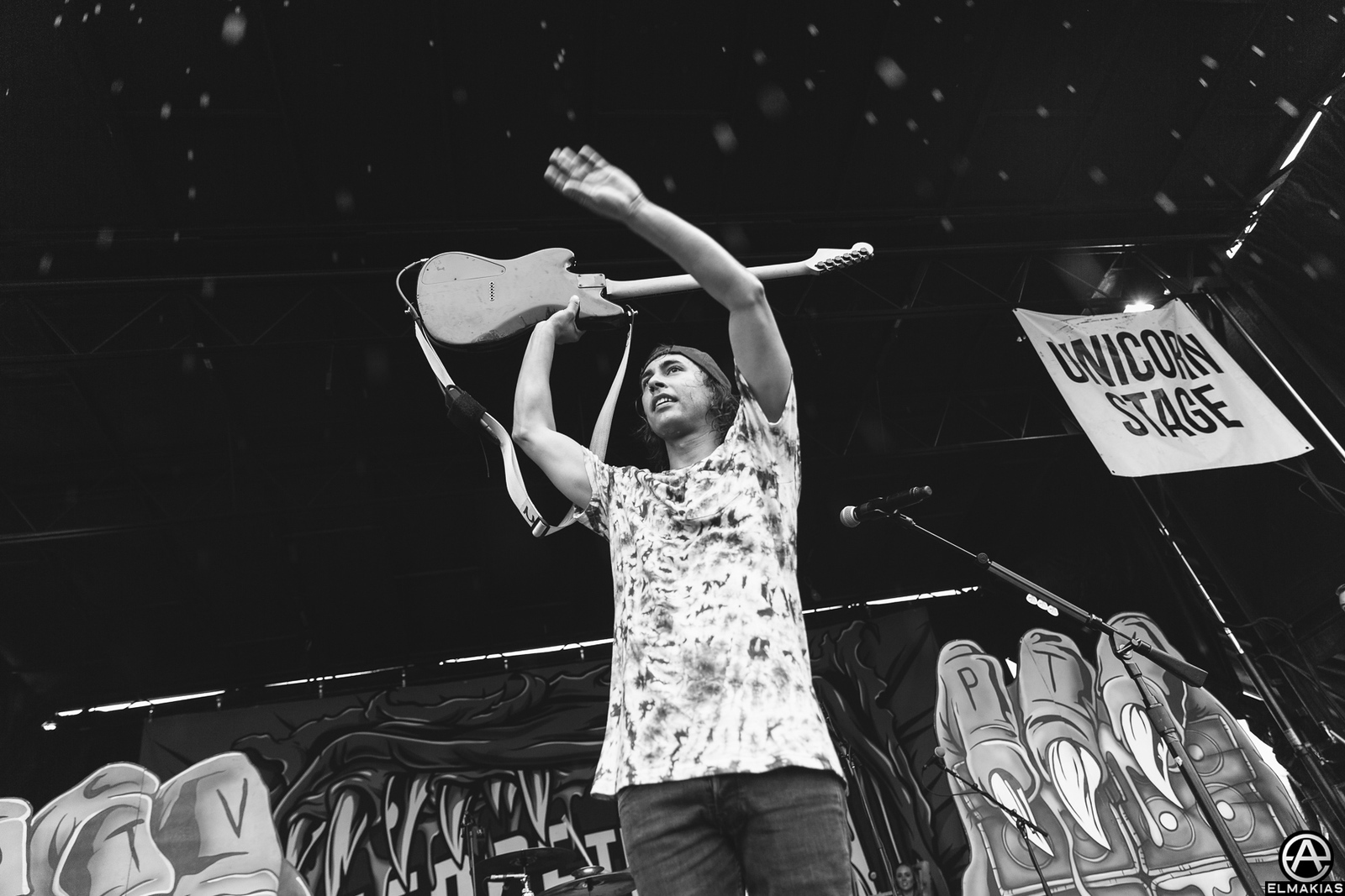Vic Fuentes of Pierce the Veil live at Warped Tour 2015 by Adam Elmakias