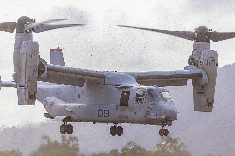 United States Marine Corps Bell Boeing V-22 Osprey's conducting an airport famil at Rockhampton Airport 23-05-2019